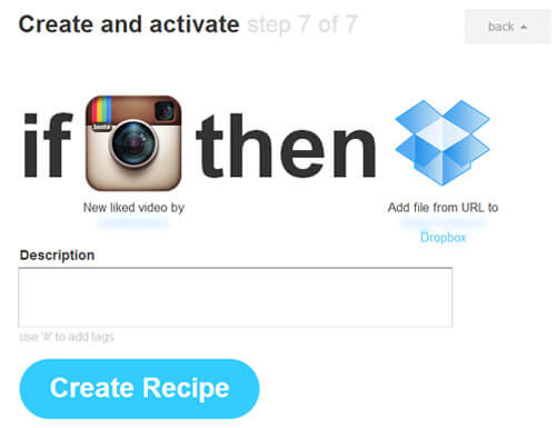 ifttt create recipe ig video backup