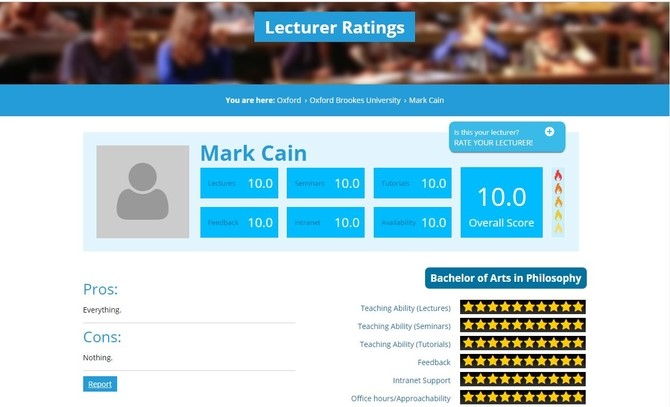 rate your lecturer review page